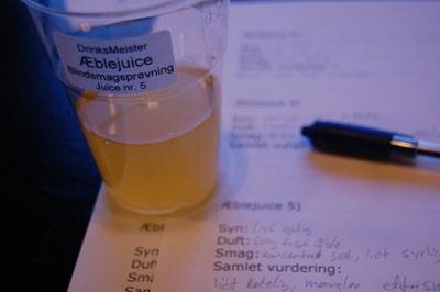 Ufiltreret æblejuice-most - Blindsmagning april 2009 - Vurdering