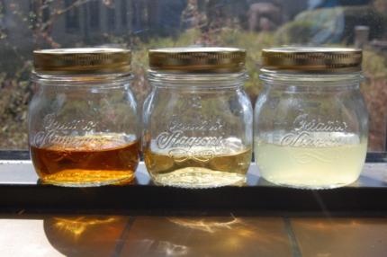 hjemmelavet infusion - de tre filtrerede spiritusser